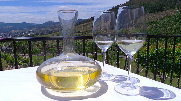 Decantador con vino de uva godello